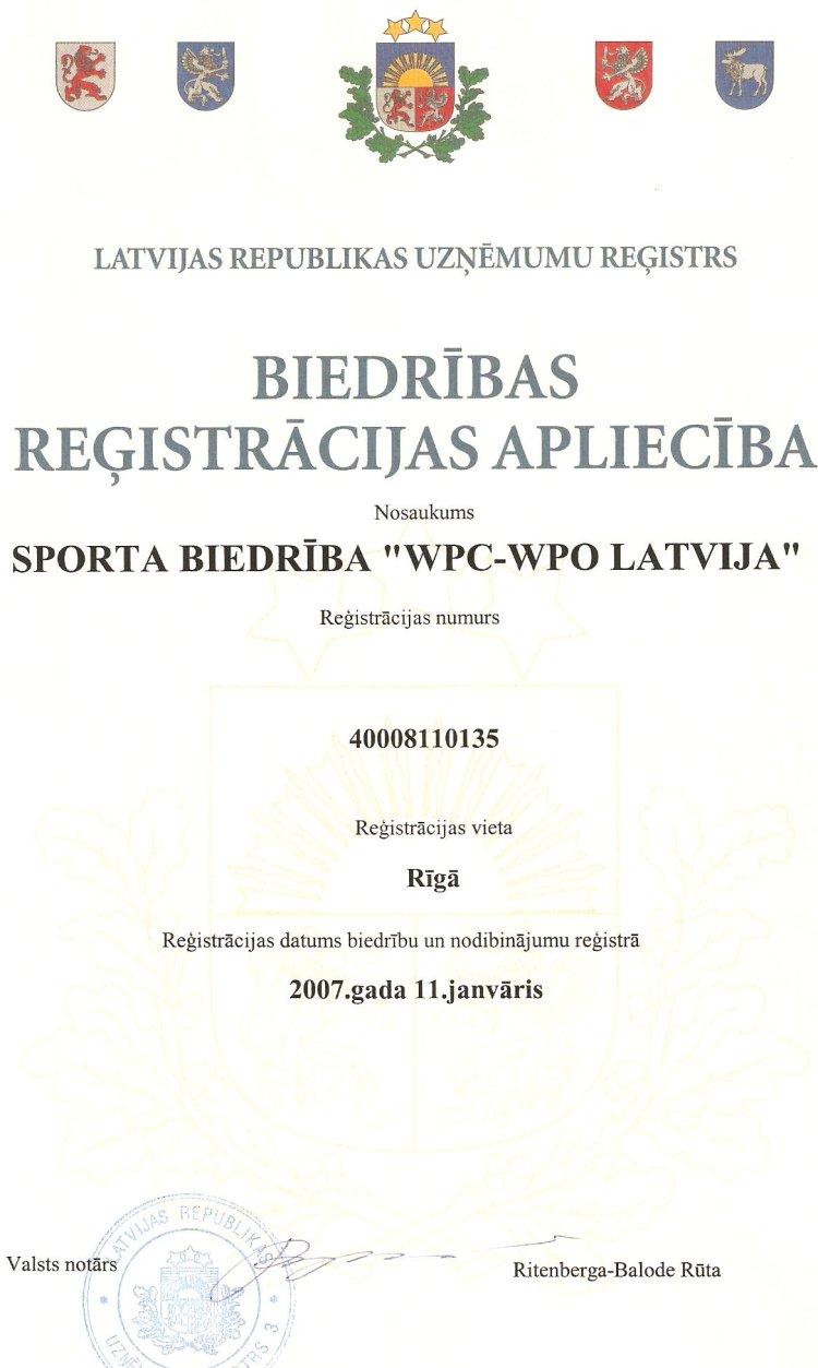 Biedrības reģistrācijas apliecība