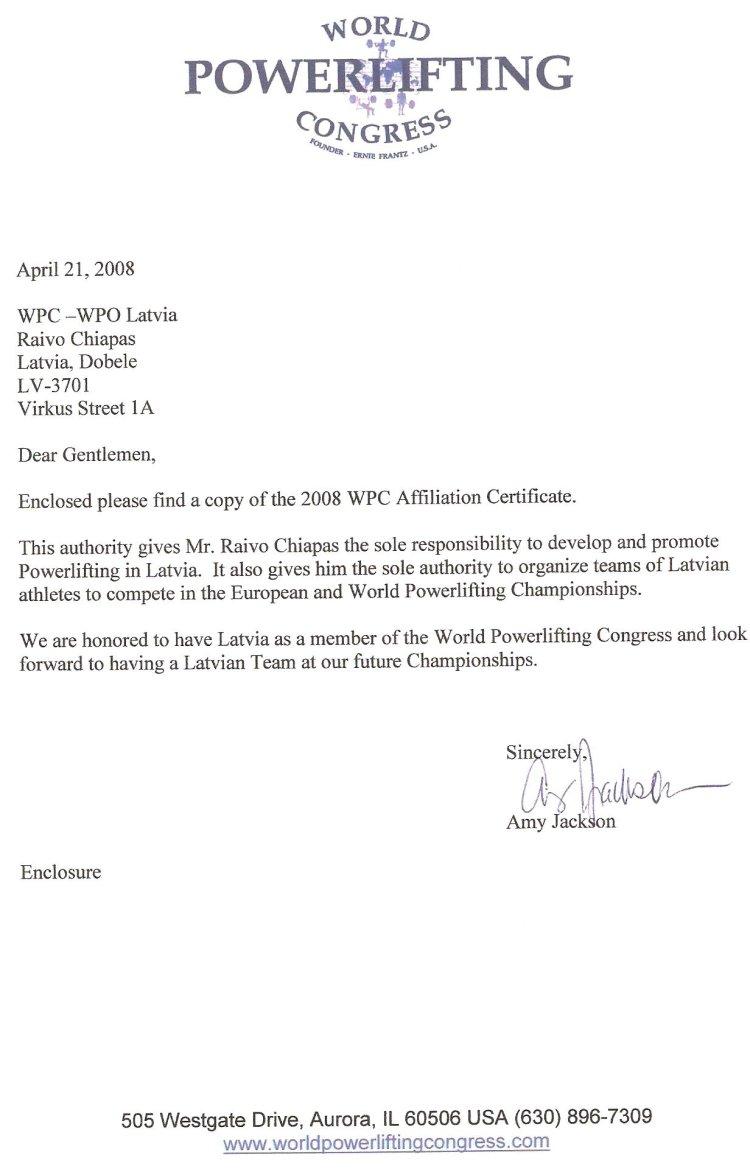 WPC sertifikāts - vēstule