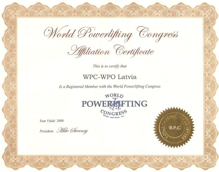 WPC sertifikāts