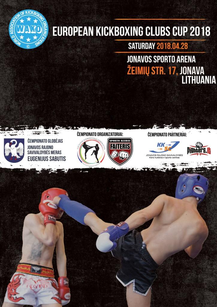 plakatas-European kickboxing Clubs Cup 2018-jonava-eng